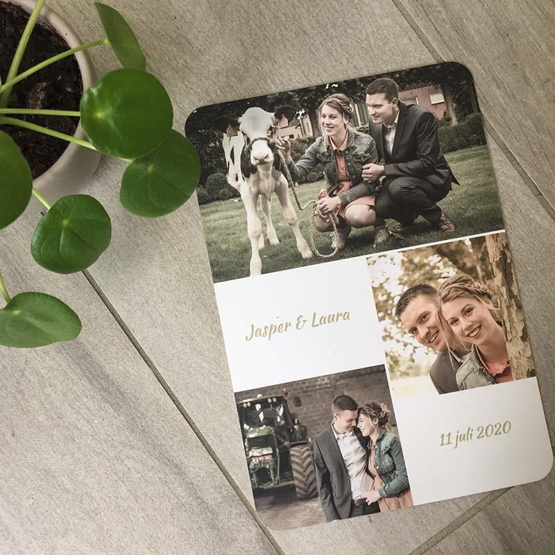 Huwelijksuitnodiging eigen foto uniek op maat 2020