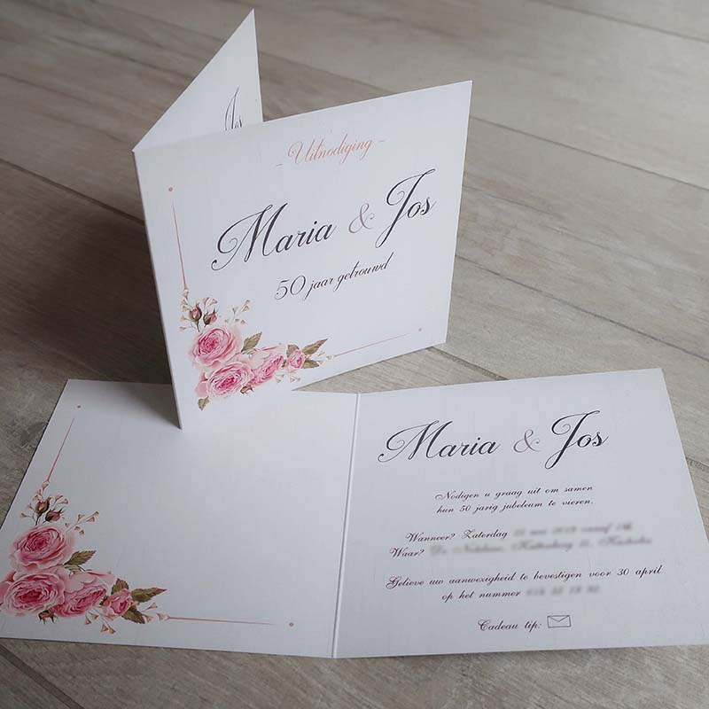 Jubileum 50 jaar getrouwd uitnodiging uniek