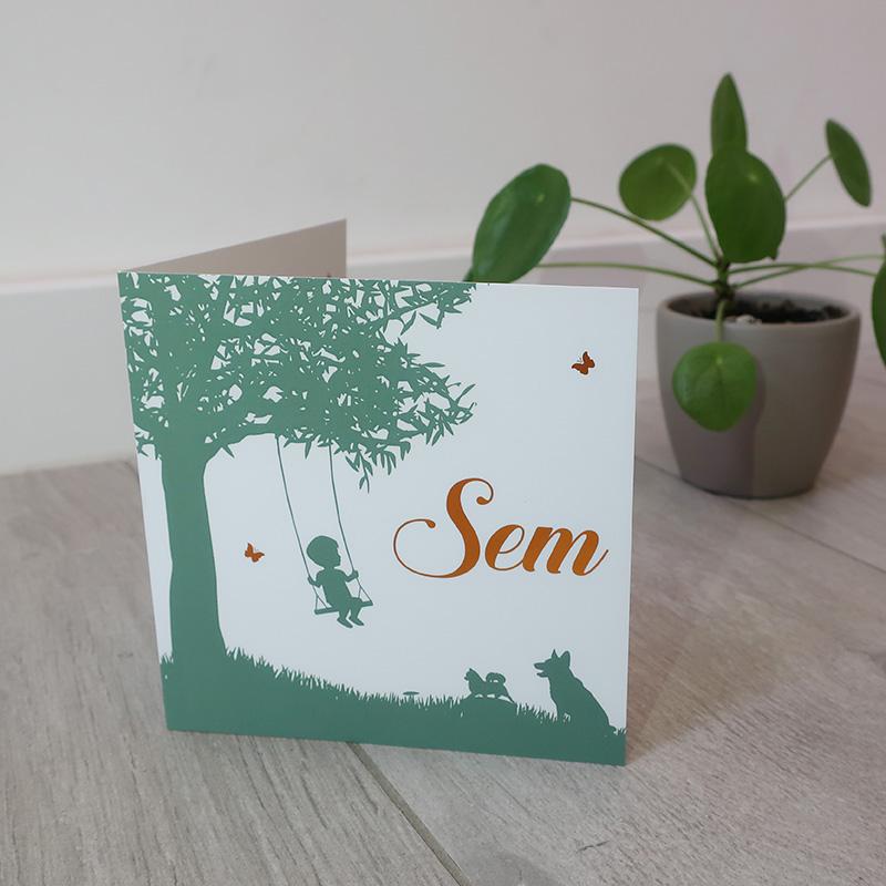 Geboortekaartje Sam koperfolie Silhouette