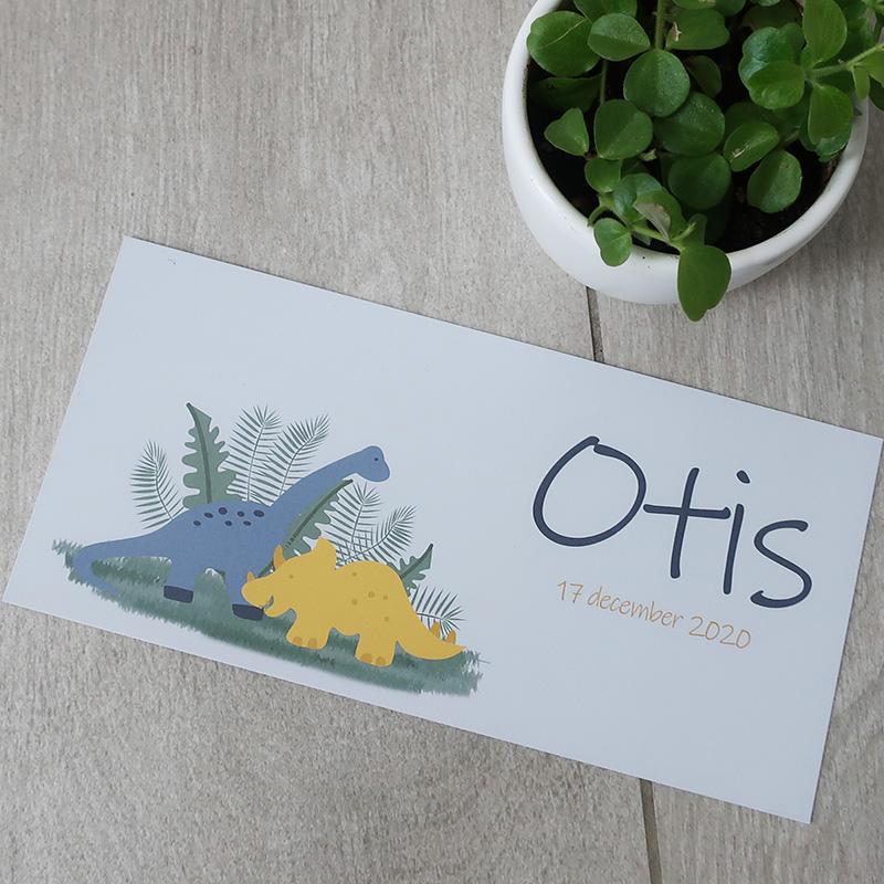 Geboortekaartje Otis dino oker blauw