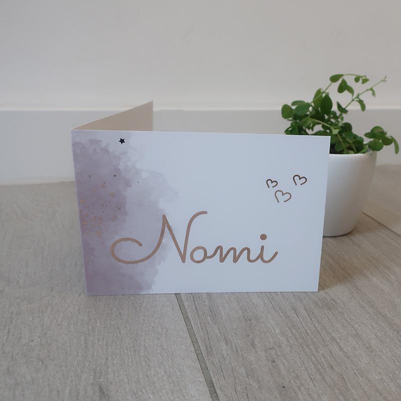 Geboortekaartje Nomie rozenolie oudroze