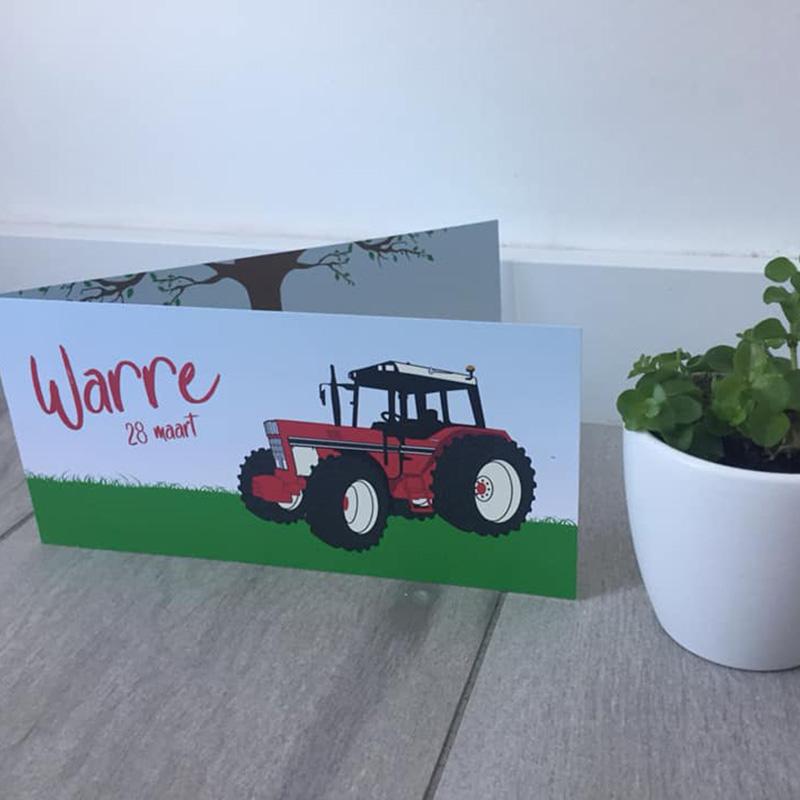 Geboortekaartje Tractor rood uniek getekend
