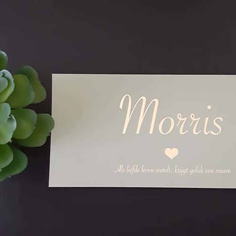 Geboortekaartje Morris goudfolie groen Als liefde leven wordt