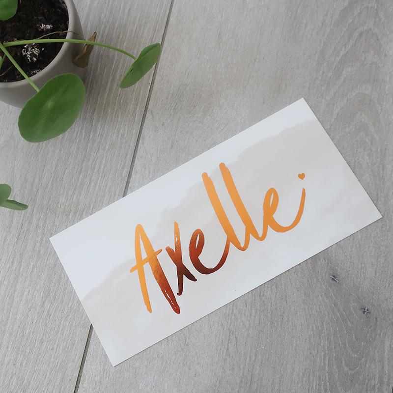 Geboortekaartje Axelle koperfolie waterverf