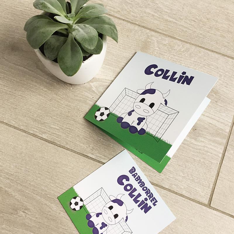 Geboortekaartje Collin koe voetbal paars