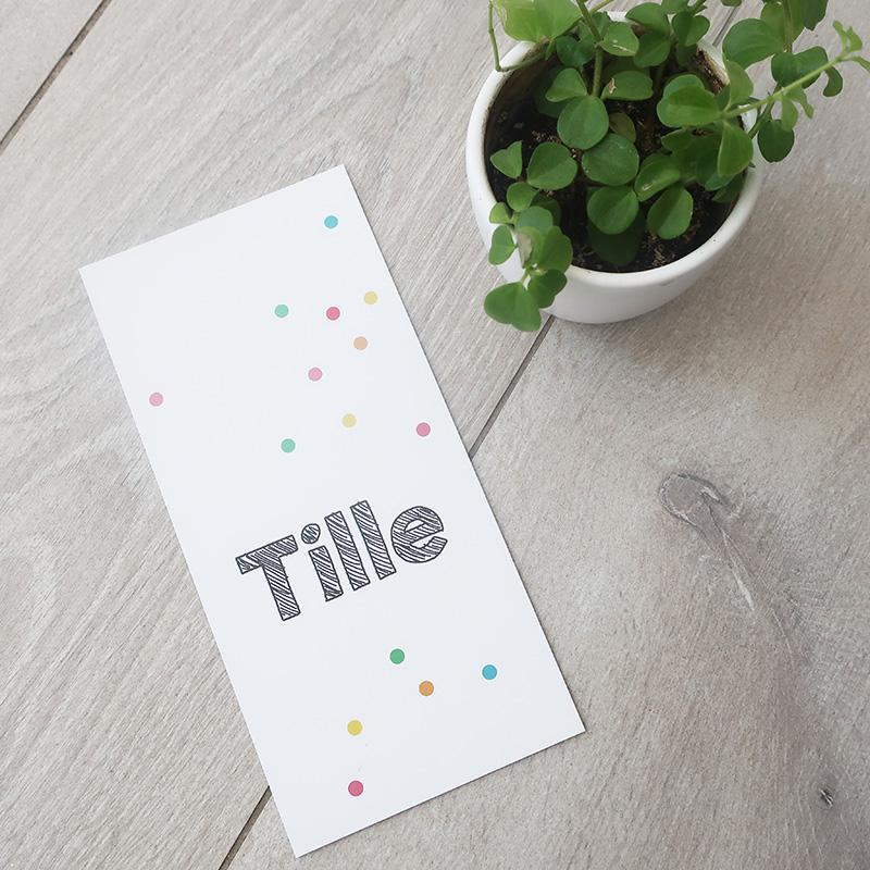 Geboortekaartje Tille kleurrijk modern eenvoudig