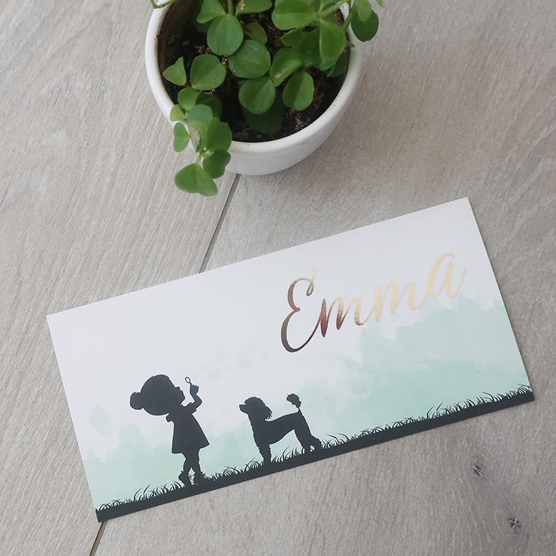 Geboortekaartje Emma goudfolie silhouette meisje