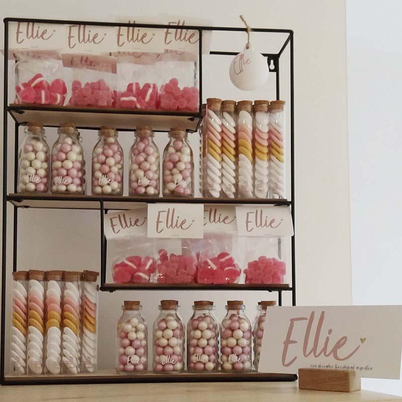 Doopsuiker choco coups glazen flesje met kurk proefbuisje suikerbonen oud roze goud