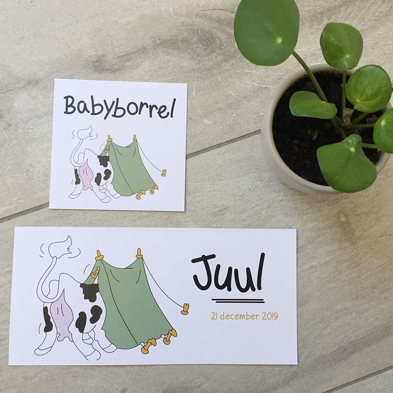 Geboortekaartje Juul koe tent persoonlijk op maat gemaakt