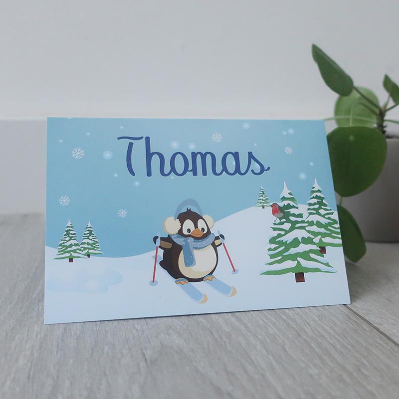 Geboortekaartje thomas pinguin sneeuw uniek