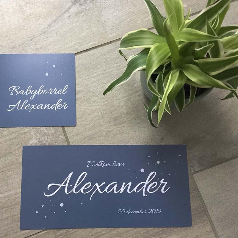Geboortekaartje Alexander sierlijk antraciet eenvoudig
