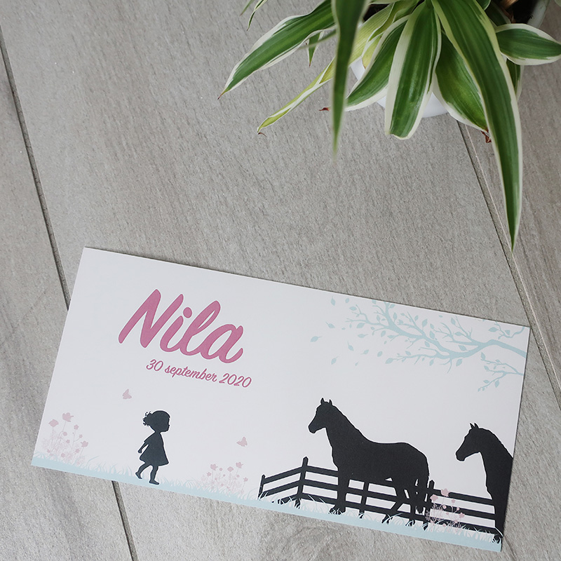 Geboortekaartje Mila silhouette paardje