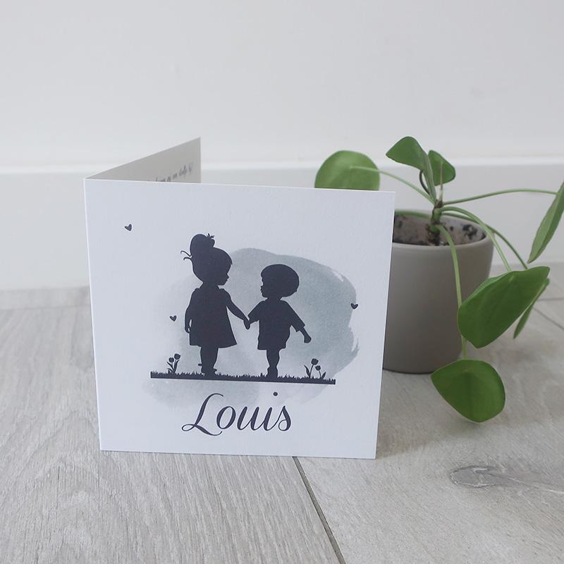 Geboortekaartje Louis silhouette broertje zusje