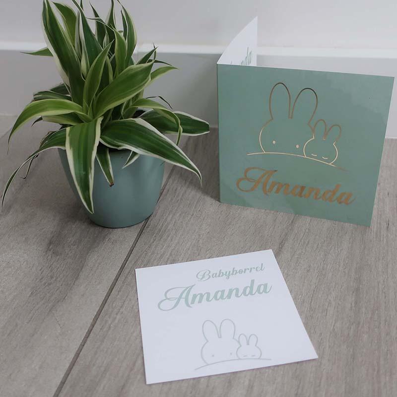Geboortekaartje Amanda konijntje mintgroen goudfolie