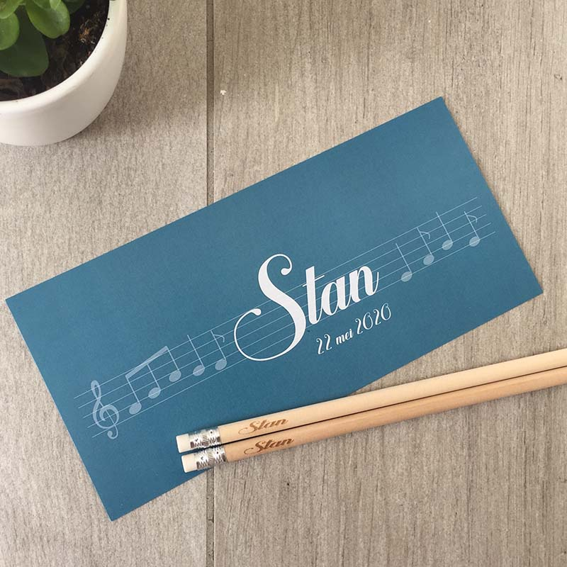 Geboortekaartje Stan muzieknoten gepersonaliseerd potlood