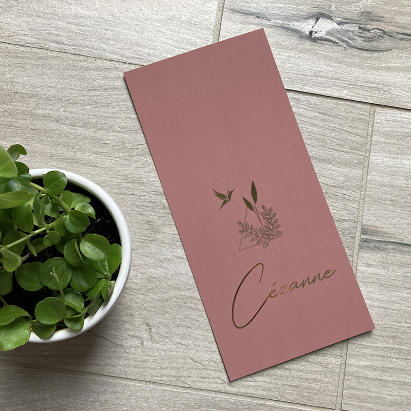 Geboortekaartje Cézanne goudfolie prachtig oudroze magnolia