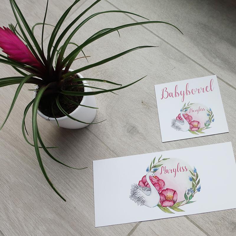 Geboortekaartje roze zwaan romantisch