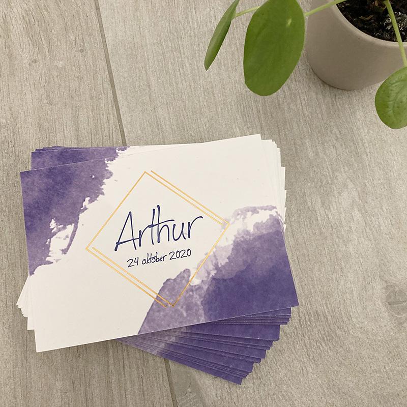 Geboortekaartje Arthur koperfolie letterpress