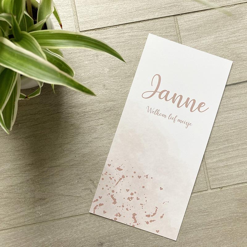 Geboortekaartje Janne oudroze wolk