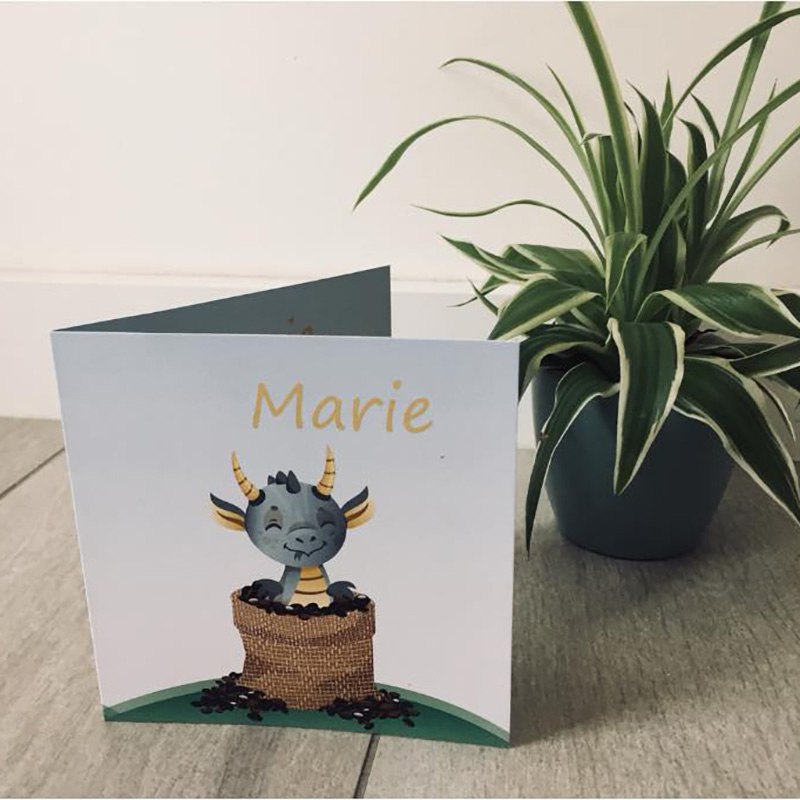 Geboortekaartje Marie draakje met koffiebonen
