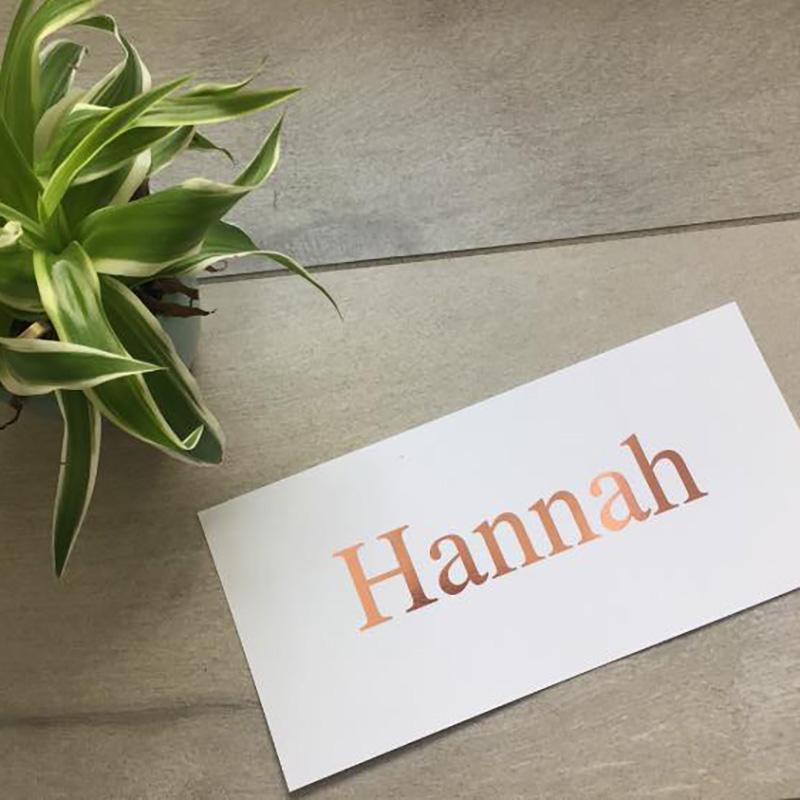 Geboortekaartje Hannah roséfolie eenvoudig naam