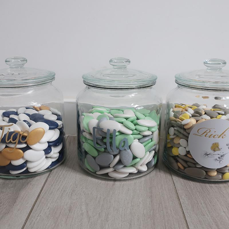 Presentatiepot 1 kilo suikerbonen voor op werk sticker gepersonaliseerd