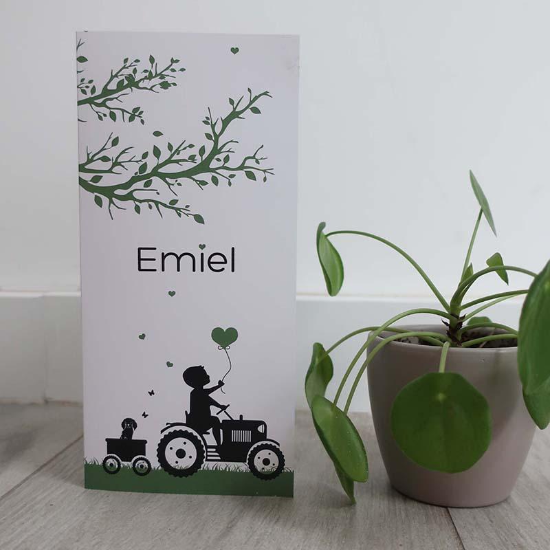 Geboortekaartje Emile traktor silhouette