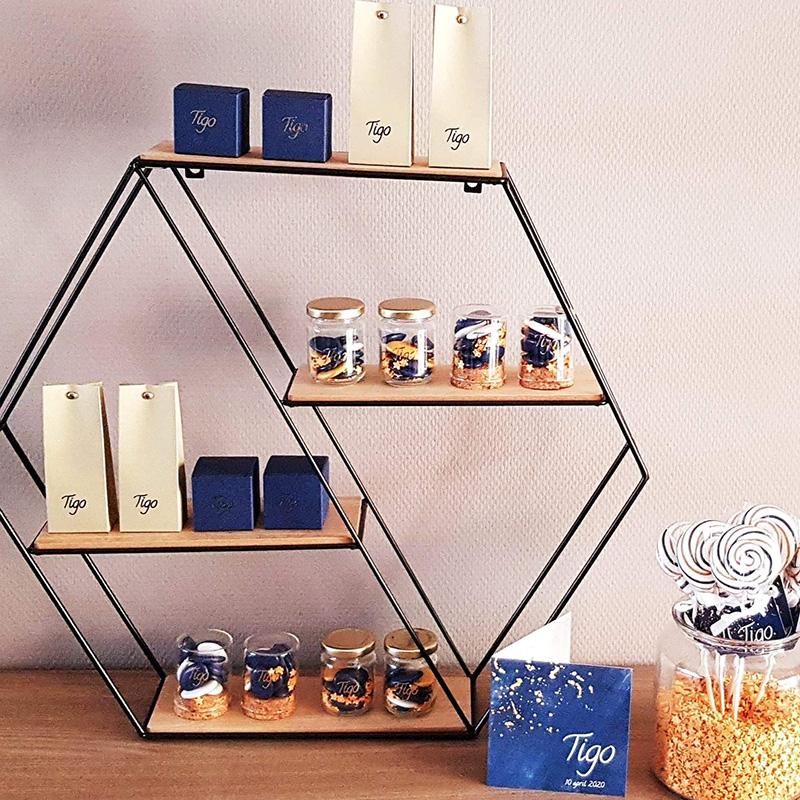 Doopsuiker donkerblauw presentatie suikerbonen glazen potje gouden deksel