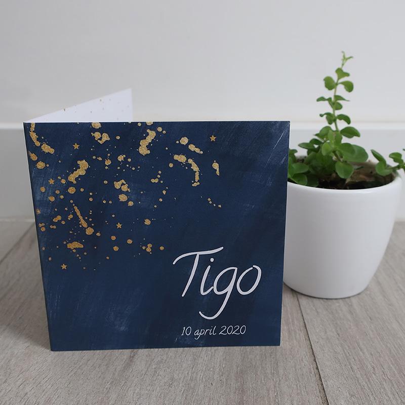 Geboortekaartje Tigo nachtblauw met sterretjes goud
