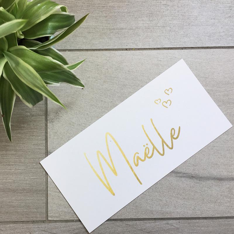 Geboortekaartje Maelle goud hartje simpel naam persoonlijk uniek